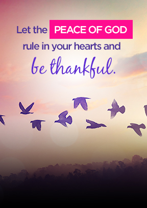 Let the peace of God rule in your hearts and be thankful.